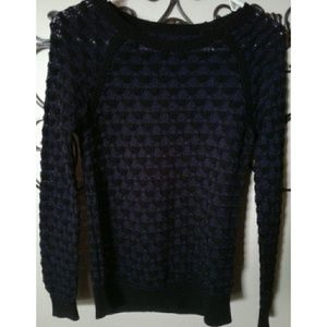 Lou & Grey Purple & Black Knit Cotton Sweater